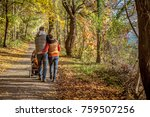 young couple taking a walk in a ... | Shutterstock . vector #759507256