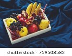 red fresh juice with apples ... | Shutterstock . vector #759508582