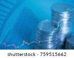 double exposure of coin stacks... | Shutterstock . vector #759515662