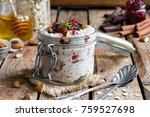overnight oatmeal in a jar with ... | Shutterstock . vector #759527698