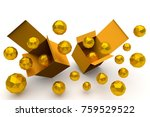 3d rendering boxs and gold... | Shutterstock . vector #759529522