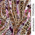 leopard with zebra pattern ...   Shutterstock . vector #759545236