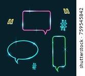 vector set of neon speech...