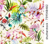 Stock vector seamless floral background pattern with humming bird flowers and leaves on white tropical 759548482