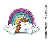 cute fantasy unicorn with... | Shutterstock .eps vector #759554032