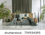 table with plant on white round ... | Shutterstock . vector #759554395