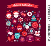 christmas advent calendar with... | Shutterstock .eps vector #759556636