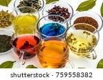 beautifully made herbal tea | Shutterstock . vector #759558382