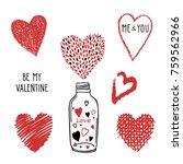 hand drawn shape hearts sticker ... | Shutterstock .eps vector #759562966