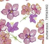 pink flowers. watercolor... | Shutterstock . vector #759565402