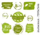 healthy food icons  labels.... | Shutterstock .eps vector #759567646