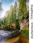 Small photo of Amata river and forest in late autumn. (Gauja National Park, Latvia) Latvia.