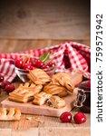 cherry pastry pies.  | Shutterstock . vector #759571942