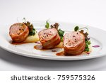 grilled pork medallions with... | Shutterstock . vector #759575326
