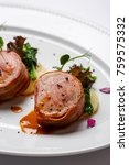 grilled pork medallions with... | Shutterstock . vector #759575332