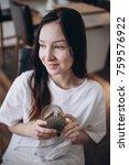 portrait of beautiful brunette... | Shutterstock . vector #759576922