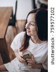 portrait of beautiful brunette... | Shutterstock . vector #759577102