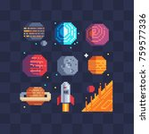 pixel art space planets icons... | Shutterstock .eps vector #759577336