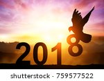 silhouette of dove in 2018 text ... | Shutterstock . vector #759577522
