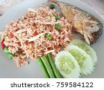 rice mixed with shrimp and... | Shutterstock . vector #759584122