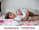 sweet preschool boy  hugging... | Shutterstock . vector #759587242