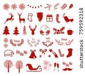 christmas  design elements set. ... | Shutterstock .eps vector #759592318