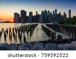 skyscrapers of lower manhattan... | Shutterstock . vector #759592522