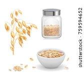 oats  oat flakes in glass.... | Shutterstock .eps vector #759594652