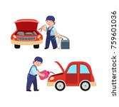 vector flat adult man mechanic... | Shutterstock .eps vector #759601036