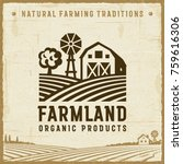 vintage farmland label.... | Shutterstock .eps vector #759616306