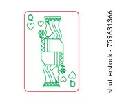 queen of heart playing card... | Shutterstock .eps vector #759631366