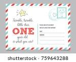 girl one year birthday... | Shutterstock .eps vector #759643288