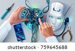 man repairing robot. scientist... | Shutterstock .eps vector #759645688
