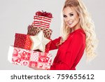 beautiful young blonde woman in ... | Shutterstock . vector #759655612