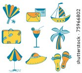 sea icons set for vacations | Shutterstock .eps vector #75966802