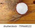 whole wheat flour with wheat... | Shutterstock . vector #759668122