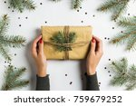 woman hand holding gift box... | Shutterstock . vector #759679252