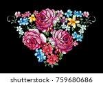 vintage flower embroidery... | Shutterstock .eps vector #759680686