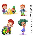 characters funny kids on a... | Shutterstock .eps vector #75968092