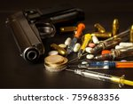 sales of narcotics. weapon and... | Shutterstock . vector #759683356