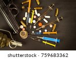 sales of narcotics. weapon and... | Shutterstock . vector #759683362
