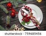 christmas table place setting | Shutterstock . vector #759685456
