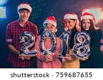 asian people who wearing santa... | Shutterstock . vector #759687655