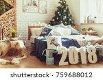 christmas interior bedroom.... | Shutterstock . vector #759688012