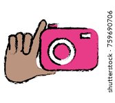hand with photographic camera... | Shutterstock .eps vector #759690706