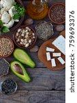 composition of vegetarian... | Shutterstock . vector #759693376