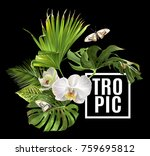 vector botanical banner with... | Shutterstock .eps vector #759695812