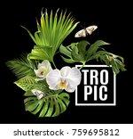 vector botanical banner with... | Shutterstock .eps vector #759695812