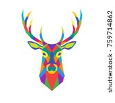 geometric polygon deer head.... | Shutterstock .eps vector #759714862