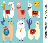 vector set of cute llamas.6... | Shutterstock .eps vector #759727336